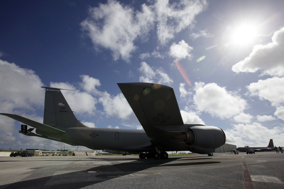 In this Aug. 14, 2012 photo, a U.S. Air Force KC-135 Stratotanker sits on the tarmac at Kadena Air Base on Japan's southwestern island of Okinawa. For decades, the U.S. Air Force has grown accustomed to such superlatives as unrivaled and unbeatable. Now some of its key aircraft are being described with terms like decrepit. (AP Photo/Greg Baker)