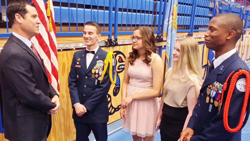 Photo - Michael James, Principal Choctaw High School;  C/Col Matthew Hoisington, Choctaw HS;  C/Col Grace Pierce, Southeast HS; C/Lt Col Amy Wylde, Carl Albert HS, and  C/Maj Quanta Evens, Putnam City HS. PHOTO PROVIDED