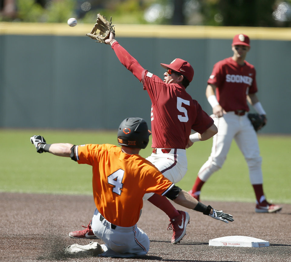 Photo - Oklahoma State's Andrew Navigato makes it to second under Oklahoma'sConor McKenna in the fifth inning of a bedlam baseball game between Oklahoma State University (OSU) and the University of Oklahoma (OU) in Norman, Okla., Sunday, May 12, 2019. [Bryan Terry/The Oklahoman]