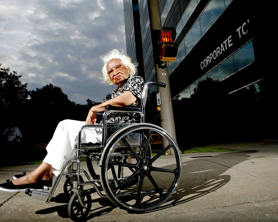 Photo - SIT-INS: Clara Luper poses near the site of the old Katz Drug Store at Main and Robinson in Oklahoma City on Tuesday, August 6, 2008. By John Clanton, The Oklahoman ORG XMIT: KOD