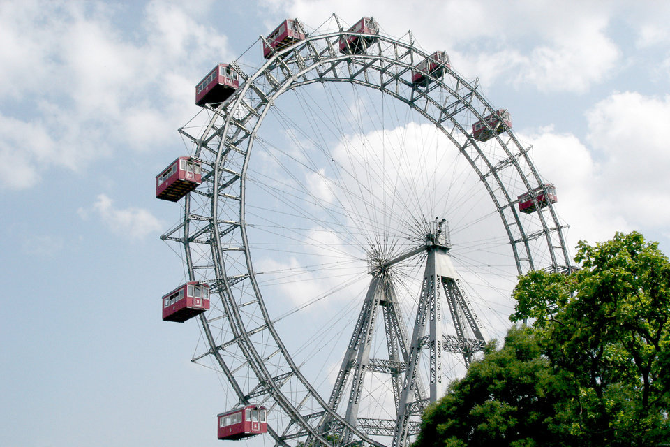 Built in 1897, the monumental Ferris wheel in Prater Park is one of Vienna's most recognizable symbols. (Photo by Rick Steves)
