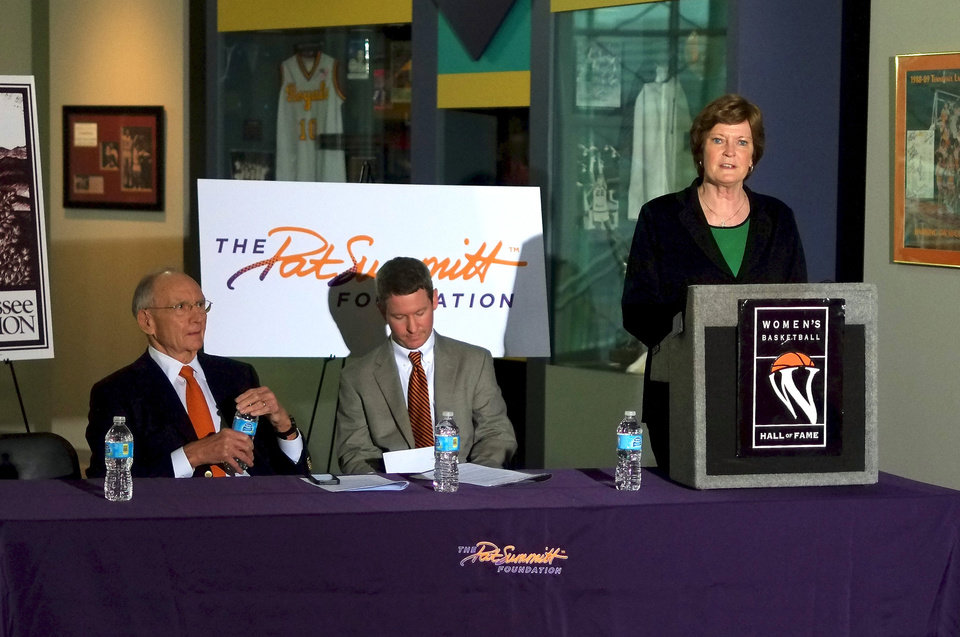 Leaders of the Pat Summitt Foundation, Pat Summitt, right, Board Chairman Jim Haslam, left, and Director Patrick Wade talk about 'We Back Pat' week in which SEC member institutions will be offering support of the foundation Tuesday, Jan. 15, 2013, in Knoxville, Tenn.  Summitt announced in the summer of 2011 that she has early-onset dementia, Alzheimer's type. (AP Photo/Chad Greene, Knoxville News Sentinel)