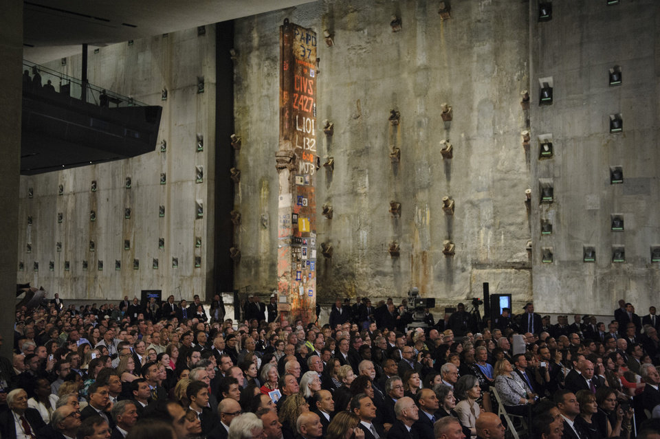 Photo - People attend the Dedication Ceremony of the National September 11 Memorial Museum in the museum's Foundation Hall on Thursday, May 15, 2014 in New York.  (AP Photo/Newsday, Charles Eckert, Pool)