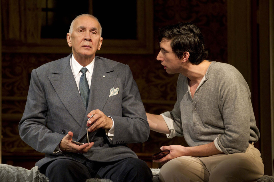 "In this undated image released by Boneau/Bryan-Brown, actors Frank Langella, left, and Adam Driver are shown in a scene from the play ""Man and Boy"" in New York. Langella was nominated for a Tony Award for best actor in a play, Tuesday, May 1, 2012, for his role in ""Man and Boy."" The Tony Awards will be broadcast live from the Beacon Theatre on CBS, Sunday, June 10. (AP Photo/Boneau/Bryan-Brown, Joan Marcus)"