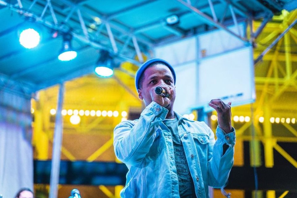 Photo - Rapper Jabee performs at the 2018 OKC Tree Lighting Festival. He will perform again at this year's event, set for 5 to 7 p.m. Friday on the Third Base Plaza at the Chickasaw Bricktown Ballpark. [Photo provided]
