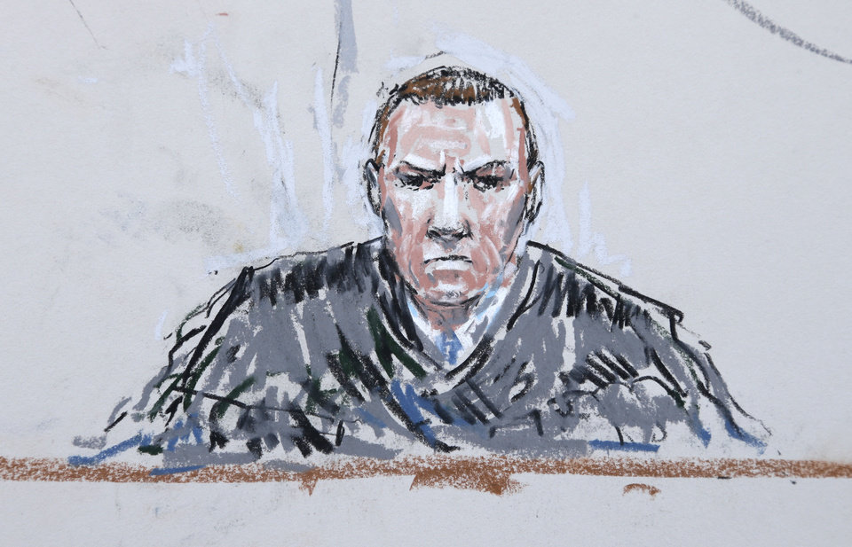 Photo - In this courtroom sketch, military judge Col. Jeffery Nance is shown Wednesday, June 5, 2013 during a plea hearing for U.S. Army Staff Sgt. Robert Bales in a military courtroom at Joint Base Lewis-McChord in Washington state. Bales pleaded guilty to multiple counts of murder, stemming from a pre-dawn attack on two villages in Kandahar Province in Afghanistan in March, 2012. (AP Photo/Peter Millett)