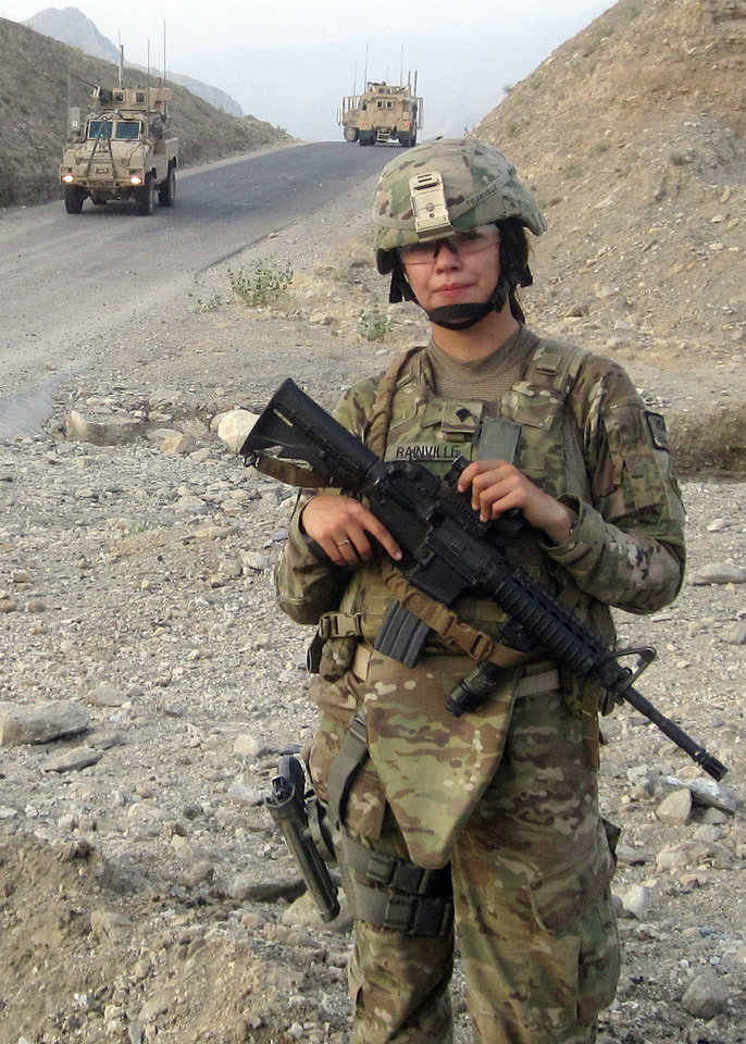 Spc. Alyssa Rainville of Ponca City, Okla., is a member of the Personal Security Detail to the commander of the 45th Infantry Brigade Combat Team currently deployed to Afghanistan. Rainville takes a moment to pause for a photo while the team was out on mission. Photo provided.