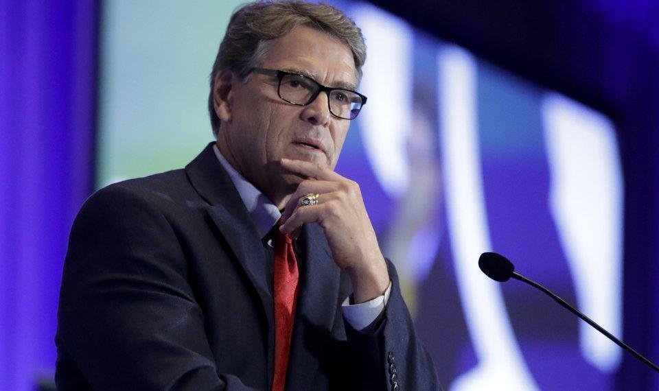Photo - FILE - In this Sept. 6, 2019, file photo, Energy Secretary Rick Perry speaks at the California GOP fall convention in Indian Wells, Calif. Perry pushed Ukraine's president earlier in 2019 to replace members of a key supervisory board at Naftogaz, a massive state-owned petroleum company. (AP Photo/Chris Carlson, File)
