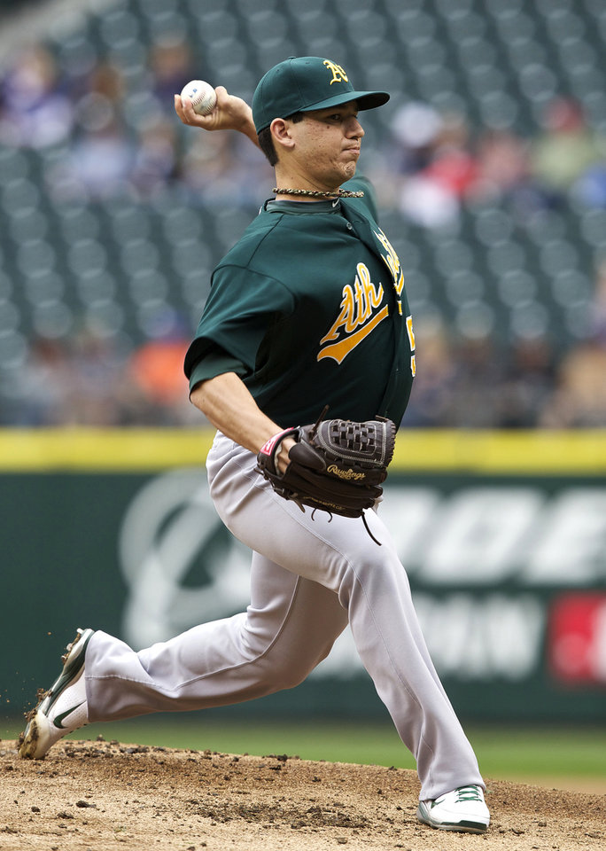 Photo -   Oakland Athletics starter Tommy Milone delivers a pitch during the first inning of a baseball game against the Seattle Mariners in Seattle, Sunday, Sept. 9, 2012. (AP Photo/Stephen Brashear)
