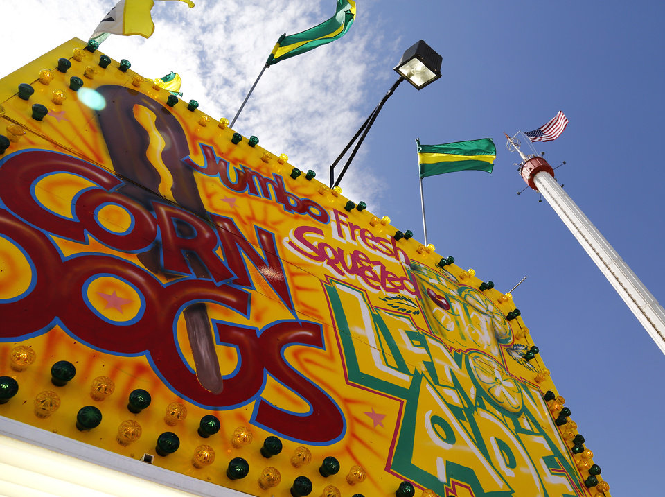 Photo - A corn dog trailer on 14 Flags Plaza at the Oklahoma State Fair on Wednesday, , Sep. 18, 2013. Photo  by Jim Beckel, The Oklahoman.