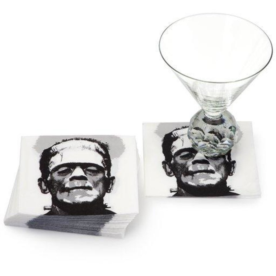 Photo - This product image released by Z Gallerie shows their Frankenstein paper beverage napkins. This season you'll find lots of ghoulish yet glamorous pieces to decorate with for Halloween.     (AP Photo/Z Gallerie)