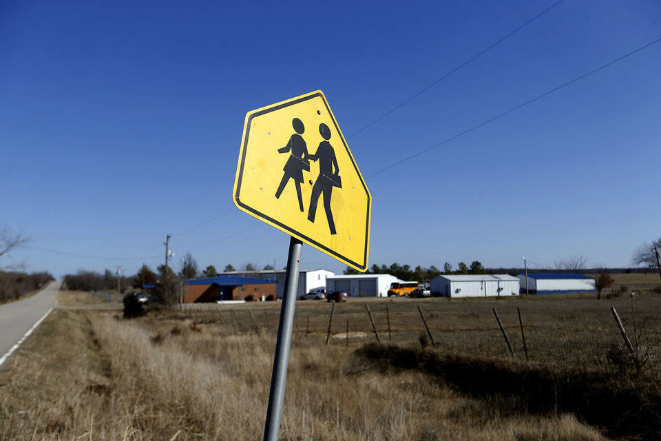 Photo - A school crossing is pictured in front of the Ryal Public School, Wednesday, Feb. 13, 2013. Photo by Sarah Phipps, The Oklahoman
