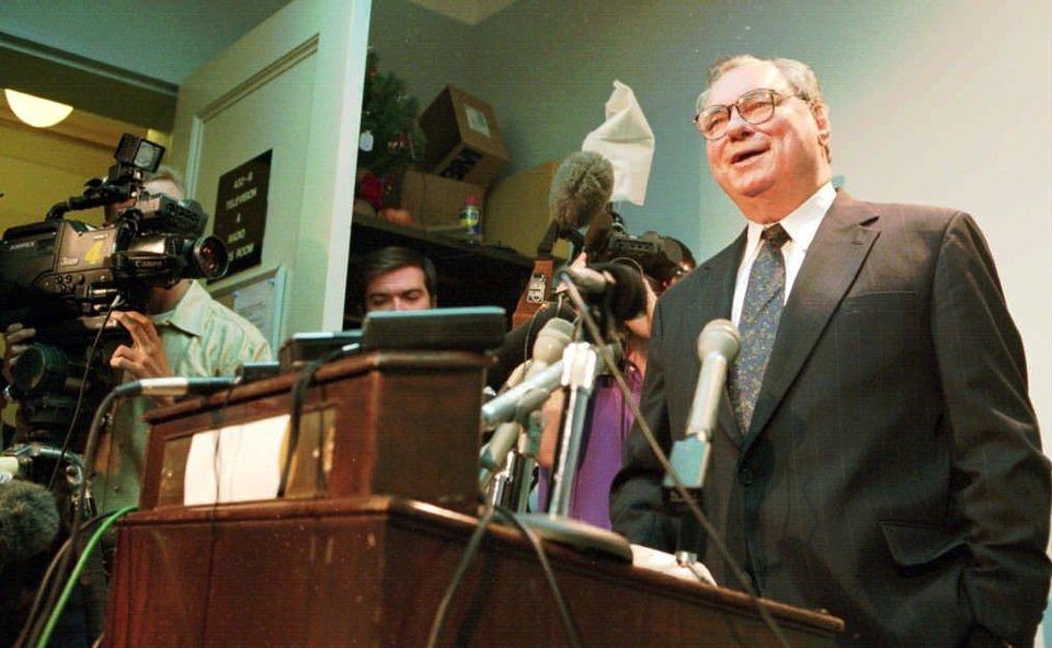Photo - State Senator Gene Stipe talks to an overflow media crowd Tuesday morning in the state capital press room.  Stipe talked about the Ryan Luke child abuse/death case. (Staff Photo by Roger Klock)