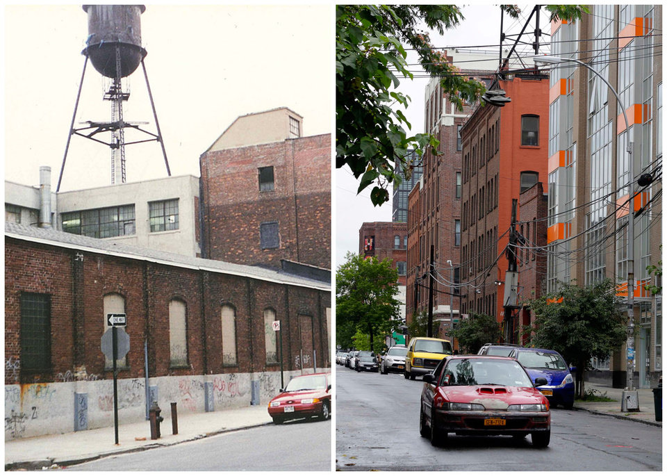 Photo - This combination photo shows, left, an undated image released by the Brooklyn Brewery, of the street near the brewery in its early days, and right, down the street from the brewery on July 1, 2013, in New York. When Brooklyn Brewery opened in the Williamsburg section of the Brooklyn borough of New York City in 1996, its neighbors were mostly deserted warehouses and factories. Today, Brooklyn Brewery is surrounded by modern apartment buildings, trendy bars, shops and restaurants. (AP Photo/Brooklyn Brewery)