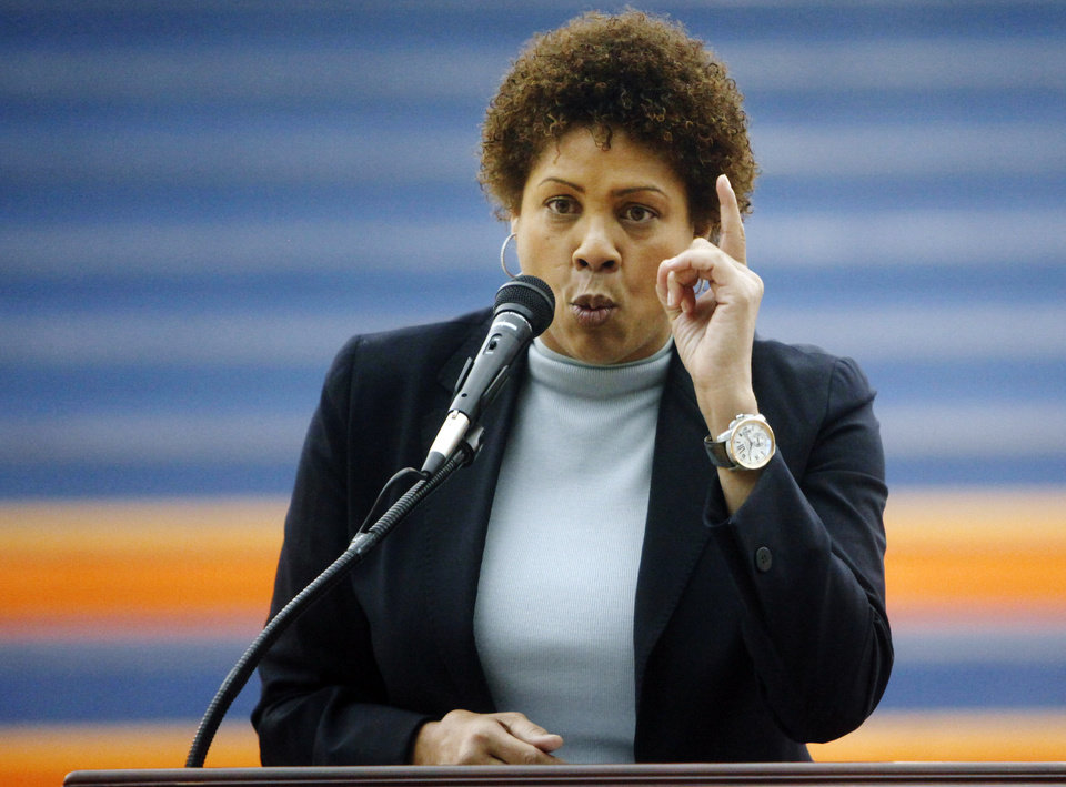 Photo - Women's basketball great Cheryl Miller speaks at a press conference where she was introduced as the head coach of Langston's women's basketball program on Tuesday, April 29, 2014 Photo by KT King, The Oklahoman