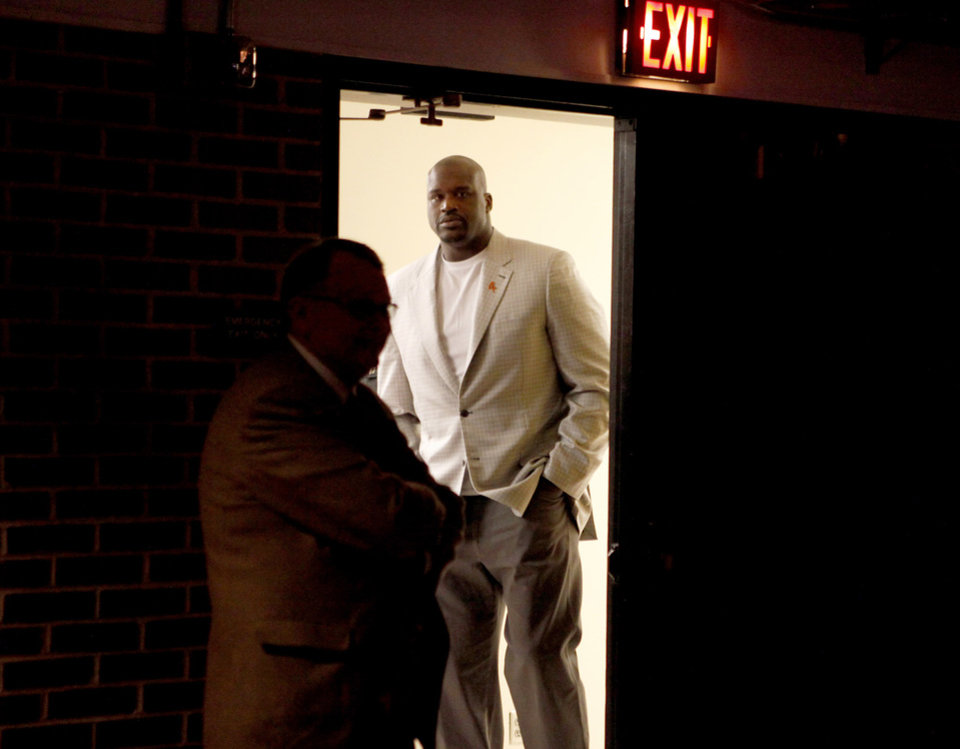 Photo - Former NBA star Shaquille O'Neal waits to enter before a question and answer session at Gallagher-Iba Arena on the campus of Oklahoma State University in Stillwater, Okla., Tuesday, April 3, 2012. Oklahoma State University's Student Government Association Speakers Board hosted the event. Photo by Bryan Terry, The Oklahoman