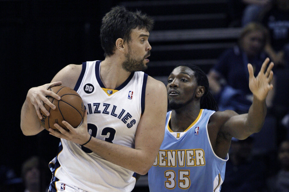 Photo -   Memphis Grizzlies' Marc Gasol (33), of Spain, is guarded by Denver Nuggets' Kenneth Faried during the first half of an NBA basketball game in Memphis, Tenn., Monday, Nov. 19, 2012. (AP Photo/Danny Johnston)