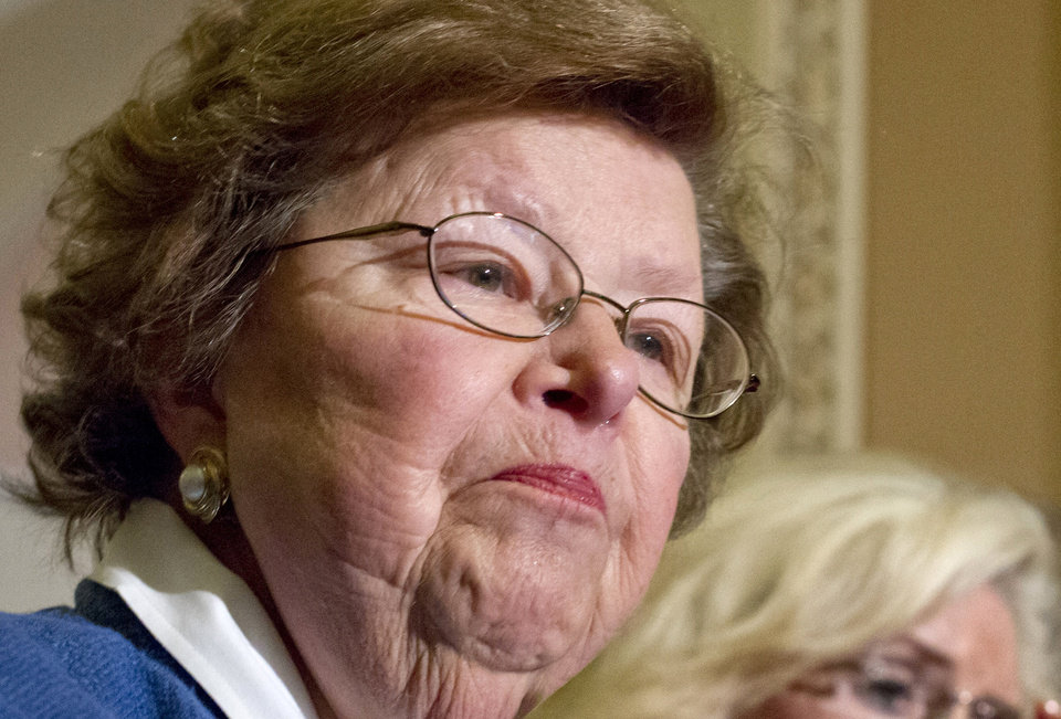 Photo - FILE - In this June 5, 2012, file photo Senate Appropriations Committee Chair, Sen. Barbara Mikulski, D-Md. speaks during a news conference on Capitol Hill in Washington. In regards to the budget, Mikulski and House Appropriations Committee Chairman Rep, Harold Rogers, R-Ky.,promise a return to the real regular order in which appropriators are handed a pot of money to divide among the 12 bills. They spend May, June and July voting bills out of committee and then debating, amending and passing them on the House and Senate floors.  (AP Photo/J. Scott Applewhite, File)