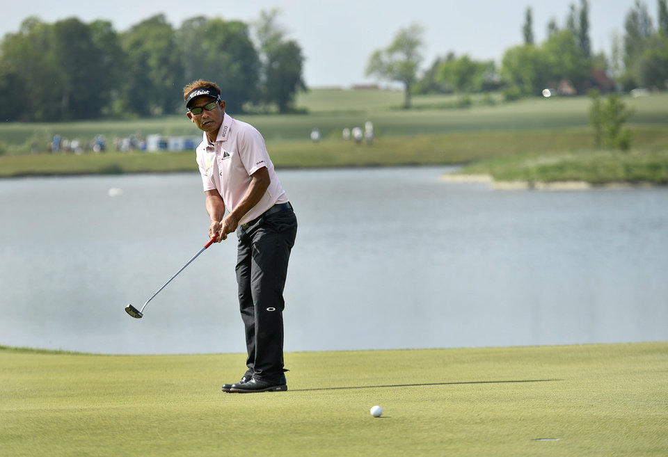 Photo - Thongchai Jaidee of Thailand hits a putt on the 18th hole during the final round of the Nordea Masters at PGA National, Malmo, Sweden on Sunday, June 1, 2014. (AP Photo/TT, Anders Wiklund) SWEDEN OUT