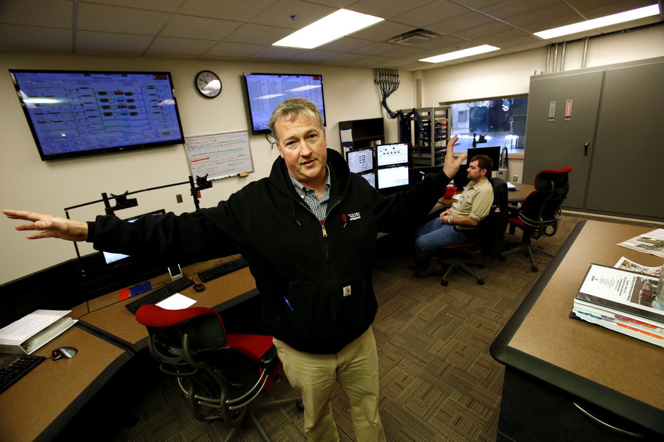 University of Oklahoma facilities manager Brian Ellis shows the modern control room in the new power/heat/air conditioning facility as he shows energy saving enhancements to the Norman campus on Tuesday, Nov. 27, 2012 in Norman, Okla.  Photo by Steve Sisney