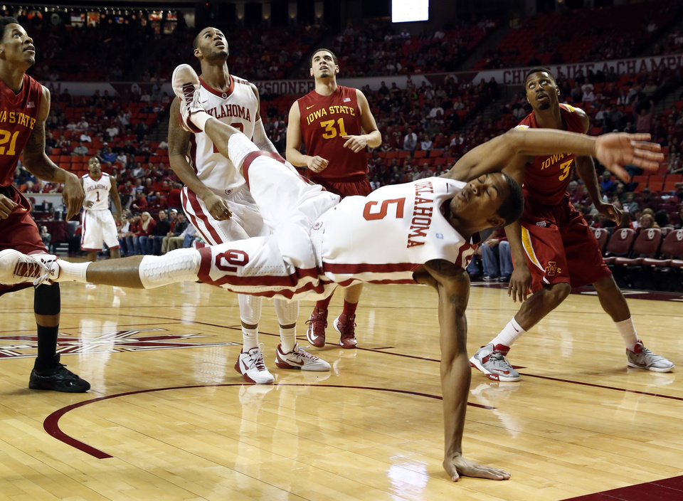 Oklahoma Sooners' Je'lon Hornbeak (5) goes to the deck after a shot as the University of Oklahoma Sooners (OU) men play the Iowa State Cyclones in NCAA, college basketball at Lloyd Noble Center on Saturday, March 2, 2013  in Norman, Okla. Photo by Steve Sisney, The Oklahoman