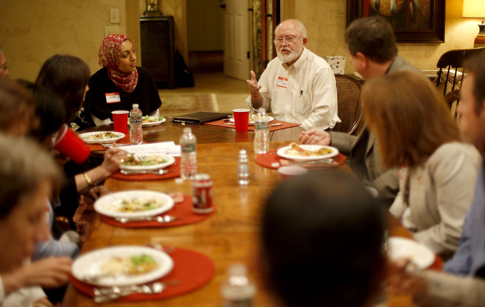 Jim Huff talks during a recent Amazing Faiths interfaith dinner in the Edmond area. Photo by Bryan Terry, The Oklahoman <strong>BRYAN TERRY - THE OKLAHOMAN</strong>