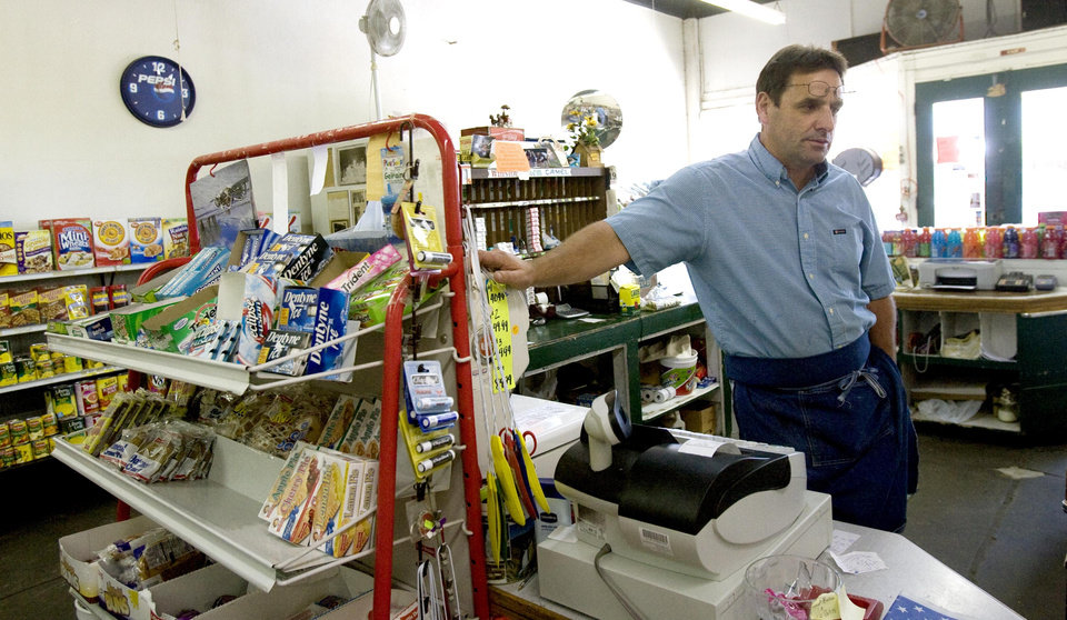Photo - Tim Williams, owner of Tim's Grocery Store, in downtown Weleetka, Okla., talks, Sunday, June 14, 2008, about the murders of Taylor Paschal-Placker and Skyla Whitaker. SARAH PHIPPS, THE OKLAHOMAN
