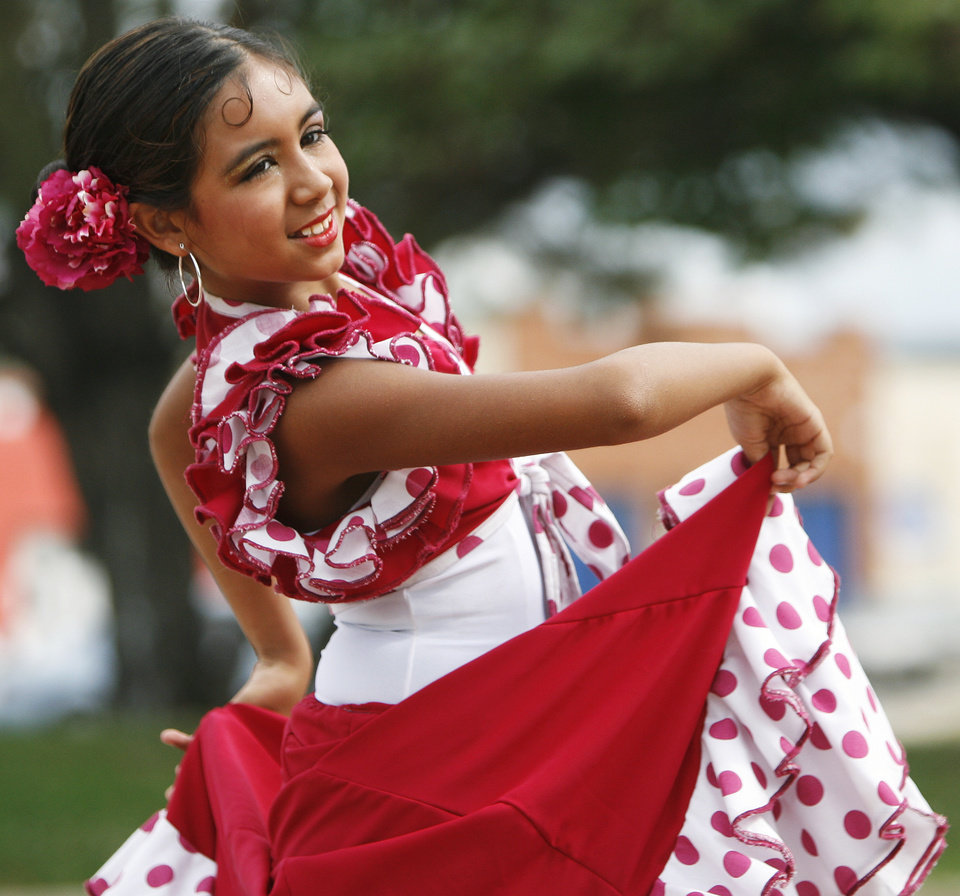 Madaya Eakins, 11, performs Flamenco during the Hispanic Heritage Festival at Norman Public Library in Norman, Okla. Sunday, September 30, 2007. By James Plumlee, The Oklahoman