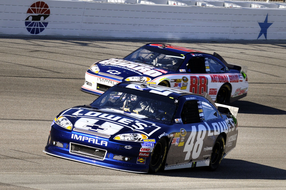 Photo -   Jimmie Johnson (48) and Dale Earnhardt Jr. (88) come out of Turn 4 during a NASCAR Sprint Cup Series auto race at Texas Motor Speedway, Sunday, Nov. 4, 2012, in Fort Worth, Texas. (AP Photo/Larry Papke)