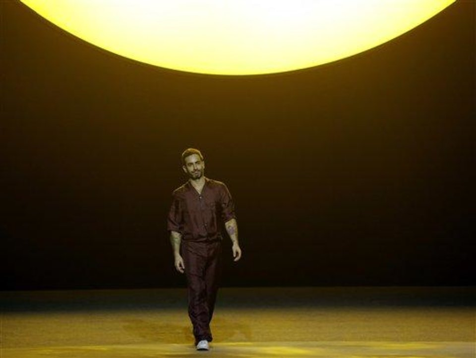 Designer Marc Jacobs makes an appearance at the conclusion of the Marc Jacobs Fall 2013 fashion show Fashion Week in New York, Thursday, Feb. 14, 2013.  (AP Photo/Kathy Willens)