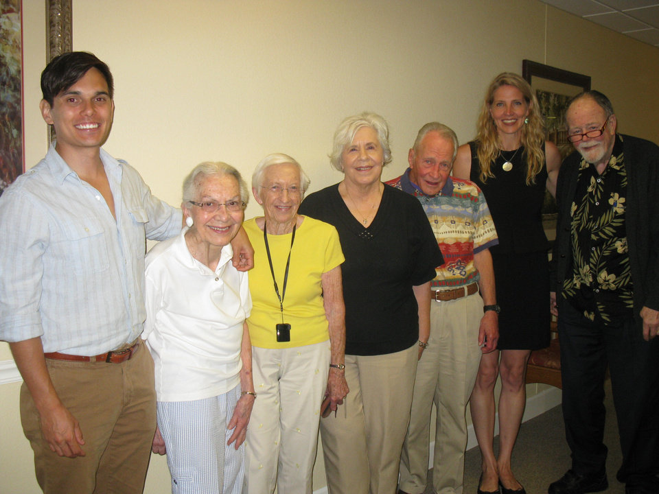 Touchmark at Coffee Creek residents screened Californian Keith Ochwat\'s  \'Age of  Champions\' documentary about the Senior Olympics, left. Edmond Y \'exercisers\' are Joan Gibson, Dorothy Rupe, Judith Harris, John Wayant, staffer Maggie Darcey & Court Wood.