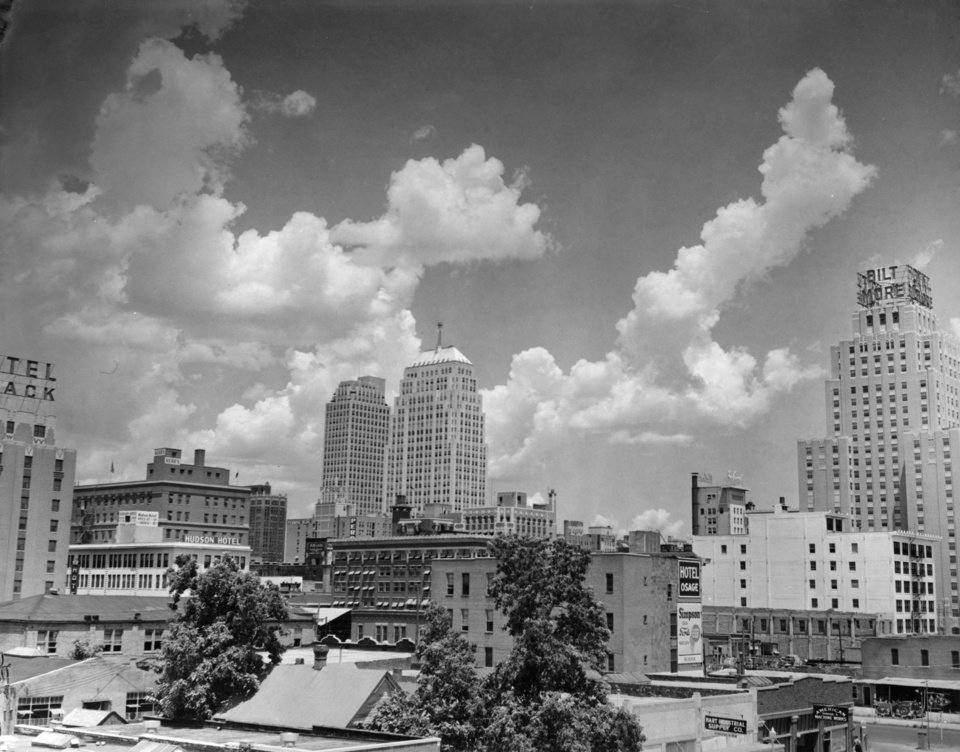 OKLAHOMA CITY / SKY LINE / OKLAHOMA: No caption. Staff photo by C. J. Kaho. Photo dated 07/23/1941 and unpublished. Photo arrived in library on 07/24/1941.