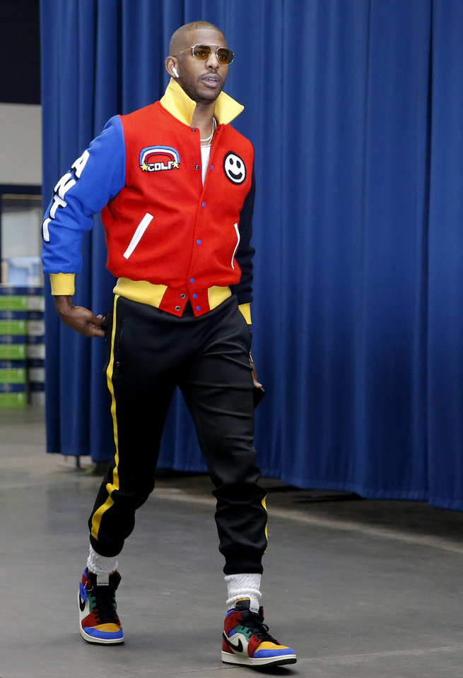 Photo - Oklahoma City's Chris Paul arrives before an NBA basketball game between the Oklahoma City Thunder and Houston Rockets at Chesapeake Energy Arena in Oklahoma City, Thursday, Jan. 9, 2020. [Bryan Terry/The Oklahoman]