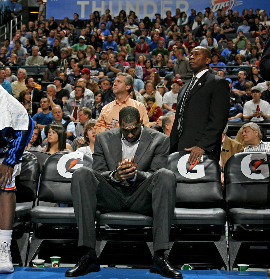 Oklahoma City's D.J. White sits on the bench during the NBA basketball game between the Oklahoma City Thunder and the Washington Wizards at the Ford Center in Oklahoma City, Wed., March 4, 2009. PHOTO BY BRYAN TERRY, THE OKLAHOMAN