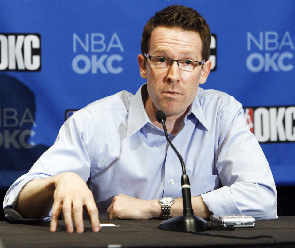 """Photo - ESPN.com's Chad Ford regards Thunder general manager Sam Presti as """"one of the brightest, most intelligent GMs in the league."""" Photo by Nate Billings, The Oklahoman"""