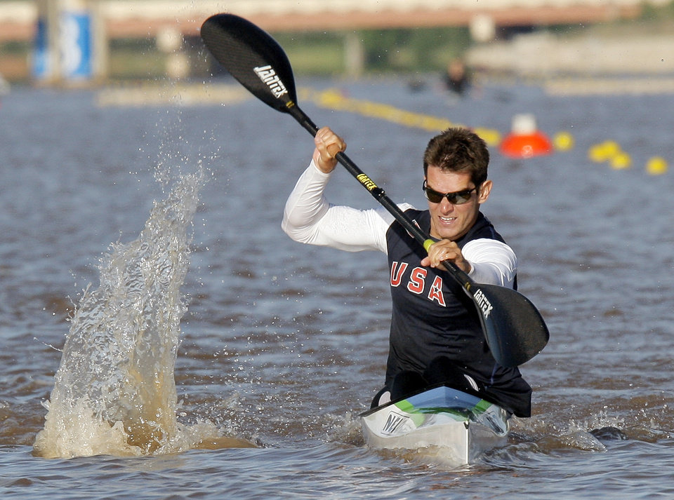 Photo - Ryan Dolan competes in the men's kayak 200m final during the USA Canoe/Kayak U.S. Olympic Team Trials on the Oklahoma River in Oklahoma City, Friday, April 20, 2012. Dolan finished second. Photo by Nate Billings, The Oklahoman