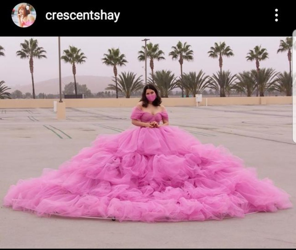 Photo -  This screenshot from Shay Rose's Instagram page shows her 12-foot-wide social distancing dress. [https://www.instagram.com/crescentshay/]