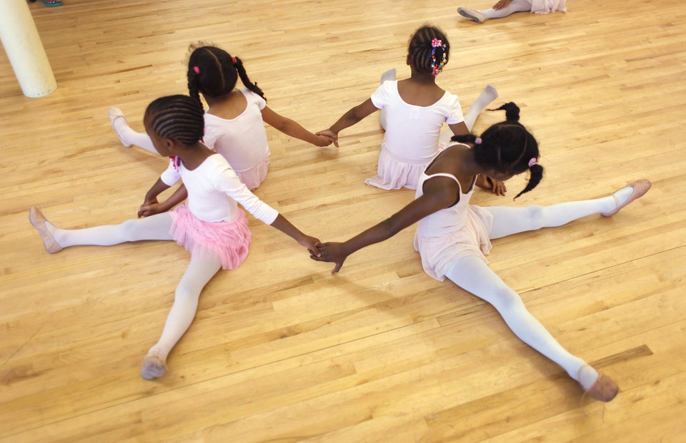 Young girls work on their ballet routine during practice for Metropolitan School of Dance  Saturday, May 7, 2011.  Photo by Doug Hoke, The Oklahoman.