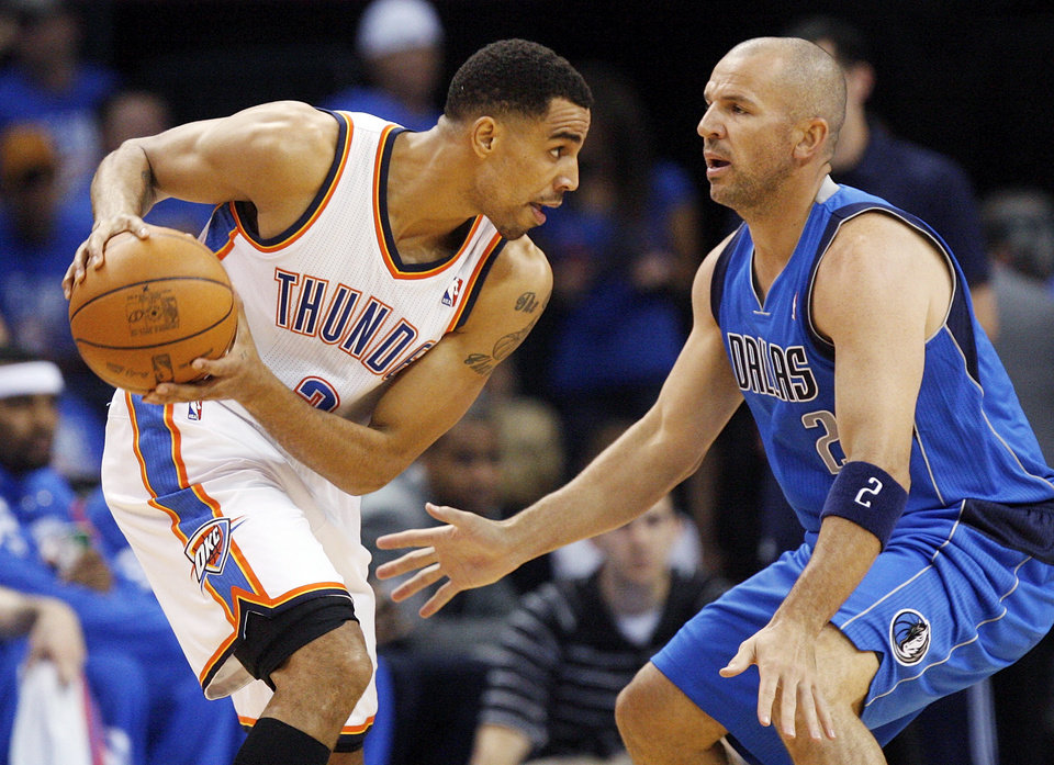 Oklahoma City\'s Thabo Sefolosha looks to get past Dallas\' Jason Kidd during game one of the first round in the NBA playoffs between the Oklahoma City Thunder and the Dallas Mavericks at Chesapeake Energy Arena in Oklahoma City, Saturday, April 28, 2012. Photo by Nate Billings, The Oklahoman