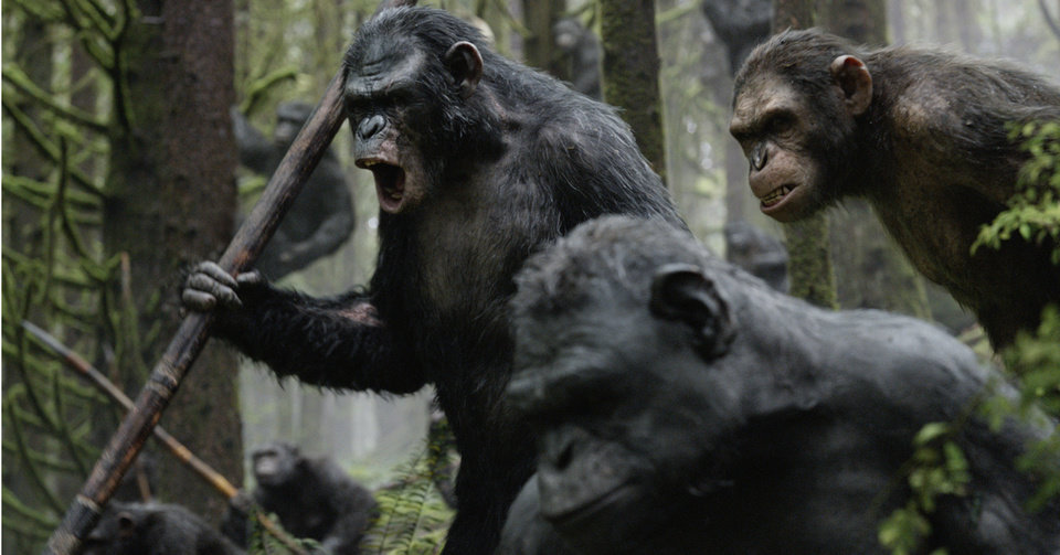 """Photo -  This photo released by Twentieth Century Fox Film Corporation shows Toby Kebbell, as Koba, leading a battle in a scene from """"Dawn of the Planet of the Apes."""" AP Photo    -"""