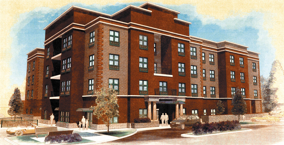 Photo - GRAPHIC / ARTIST DRAWING: The original rendering for a proposed Bricktown Holiday Inn Express was rejected by the Bricktown Urban Design Committee for being