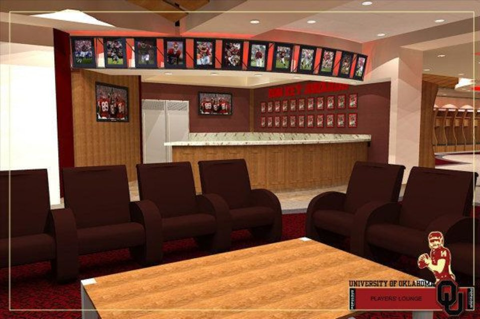 Photo - Artist rendering of the players lounge that is part of Phase IV of the renovation of Gaylord Family - Oklahoma Memorial Stadium. PHOTO PROVIDED
