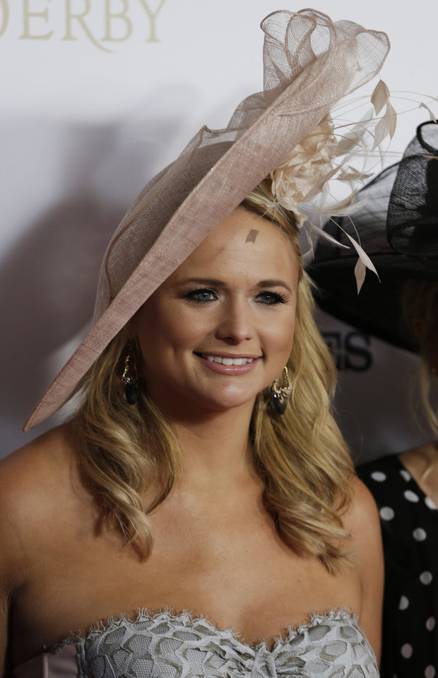 Country singer Miranda Lambert arrives to attend the 139th Kentucky Derby at Churchill Downs Saturday, May 4, 2013, in Louisville, Ky. (AP Photo/Darron Cummings)