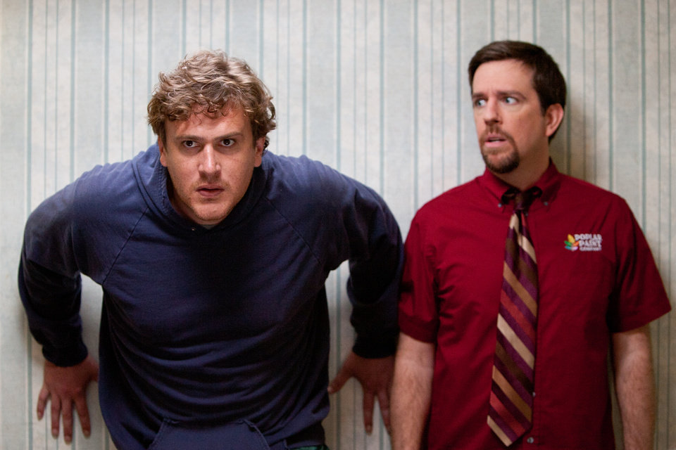 "In this film image released by Paramount Vantage, Jason Segel plays Jeff, left, and Ed Helms plays Pat in a scene from ""Jeff, Who Lives at Home."" (AP Photo/Paramount Vantage, Hilary Bronwyn Gayle)"