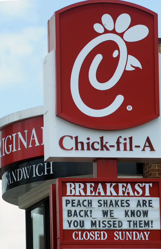 Photo - This photo shows a Chick-fil-A fast-food restaurant in Atlanta in July. AP Photo
