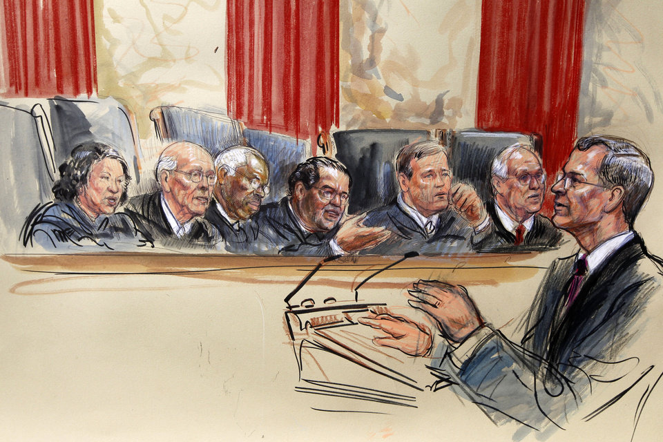 This artist rendering shows attorney Robert A. Long speaks in front of the Supreme Court Justice in Washington, Monday, March 26, 2012, as the court began three days of arguments on the health care law signed by President Barack Obama. Justices seated, from left are, Sonia Sotomayor, Stephen Breyer, Clarence Thomas, Antonin Scalia, Chief Justice John Roberts and Anthony Kennedy.  (AP Photo/Dana Verkouteren) ORG XMIT: DCCD126