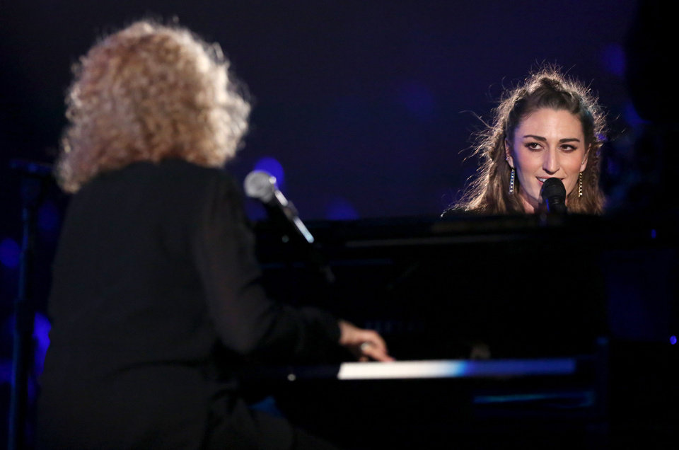 """Photo - Carole King, left, and Sara Bareilles perform """"Brave"""" on stage at the 56th annual Grammy Awards at Staples Center on Sunday, Jan. 26, 2014, in Los Angeles. (Photo by Matt Sayles/Invision/AP)"""