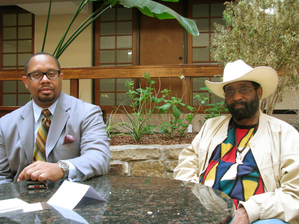 Photo - Attorney Greg Francis, left, and Willard Tillman, executive director of the Oklahoma Black Historical Research Project, are seen in Oklahoma City.  Photo by Peter Wright, For The Oklahoman
