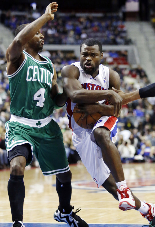 Detroit Pistons guard Will Bynum, right, drives to the basket against Boston Celtics guard Jason Terry (4) in the first half of an NBA basketball game, Sunday, Jan. 20, 2013, in Auburn Hills, Mich. (AP Photo/Duane Burleson)