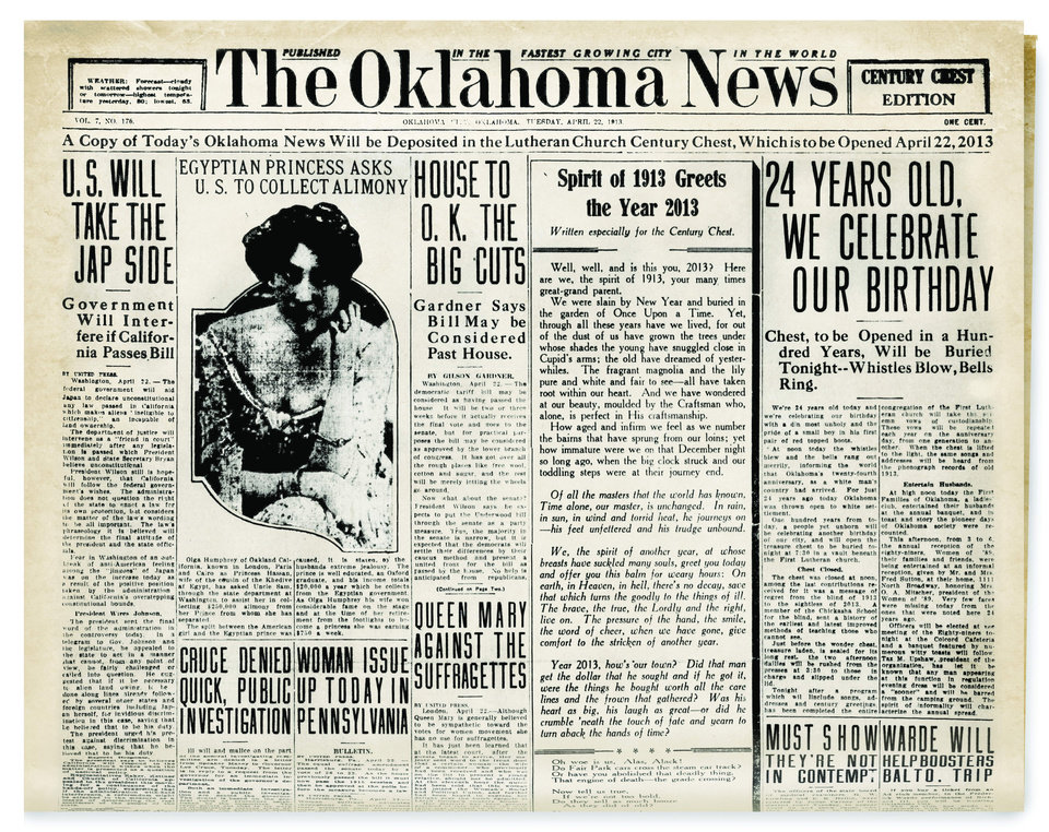 Photo - A 1913 copy of The Oklahoma News, greeting residents in 2013, was placed in the century chest with items that included a poster promoting the first Fourth of July celebration in Oklahoma City.  Courtesy of the Oklahoma Historical Society